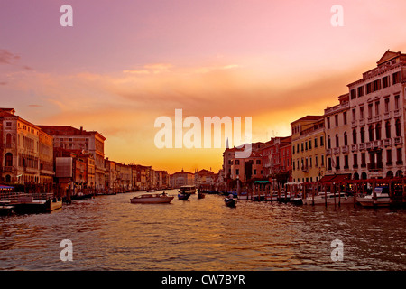 Canale Grande in evening light, Italy, Venice - Stock Photo