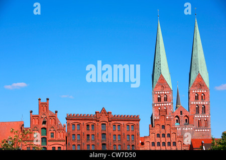 St. Mary's Church and historical warehouses in brick gothic, Germany, Schleswig-Holstein, Luebeck - Stock Photo