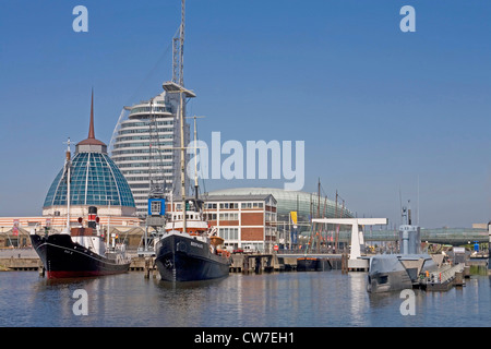 museum harbour and Atlantic Hotel Sail City, Germany, Freie Hansestadt Bremen, Bremerhaven - Stock Photo