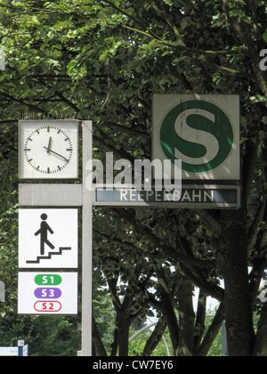 Train station at the Reeperbahn (red light district), Germany, St. Pauli, Hamburg - Stock Photo