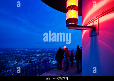visitors on observation deck of television tower Florian, Germany, North Rhine-Westphalia, Ruhr Area, Dortmund - Stock Photo