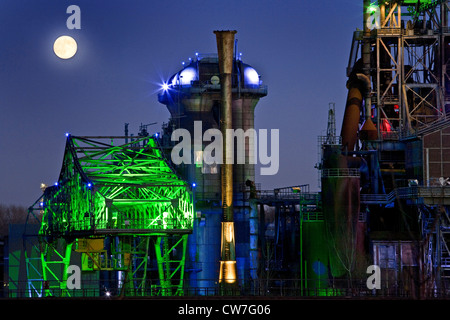 illuminated Landschaftspark Duisburg Nord at full moon, Germany, North Rhine-Westphalia, Ruhr Area, Duisburg - Stock Photo