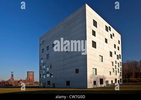 Zollverein Kubus and SANAA building, Germany, North Rhine-Westphalia, Ruhr Area, Essen - Stock Photo