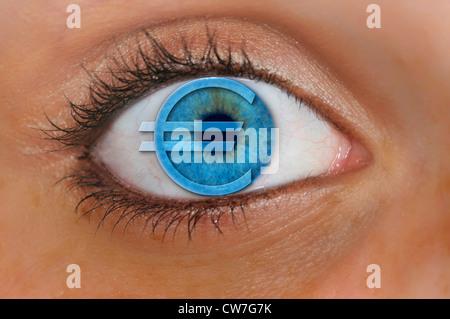 eye and iris and euro symbol - Stock Photo
