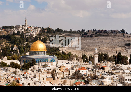 Dome of the Rock in the Old City, Mount of Olives in background, Israel, Jerusalem - Stock Photo