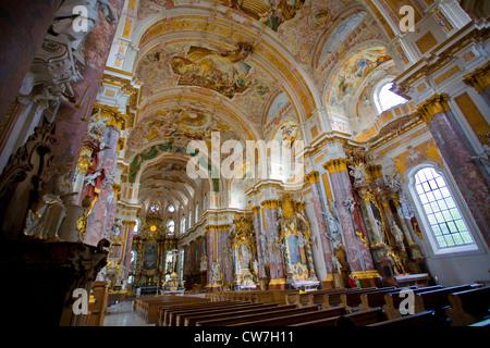 cloister Fuerstenfeld, chloister church St. Maria, Germany, Bavaria, Fuerstenfeldbruck - Stock Photo