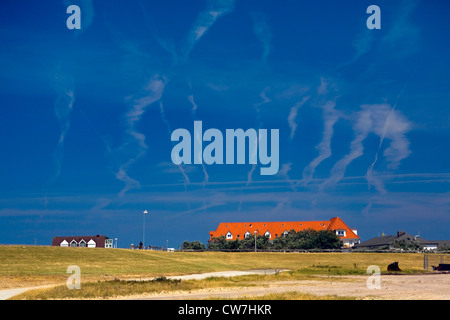 contrails, Germany, Lower Saxony, Norderney - Stock Photo