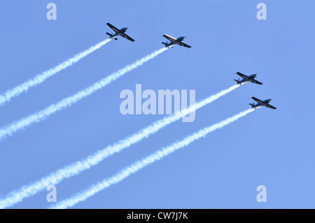 The Blades aerobatic display team, Royal Air Forces Association,  flying in formation at Farnborough International - Stock Photo