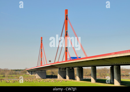 bridge over the Rhine of the motorway A42 (Emscherschnellweg) between Duisburg and Moers, Germany, North Rhine-Westphalia - Stock Photo