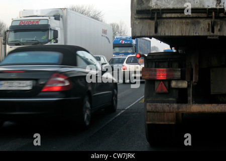 traffic jam on highway A40 , Germany, North Rhine-Westphalia, Ruhr Area, Essen - Stock Photo