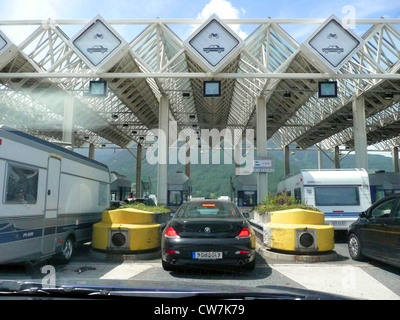 toll gate on the Austrian Brenner motorway, Austria - Stock Photo