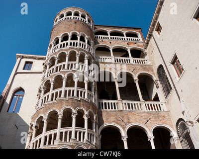 Scala Contarini del Bovolo is a renaissance style staircase know by the Venetians as Bovolo or snail staircase, - Stock Photo