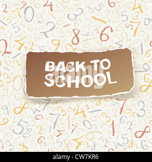 Back to school on chaotic numbers seamless pattern - Stock Photo