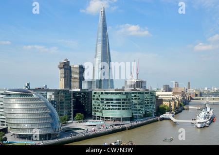 London skyline from left City Hall morelondon office blocks Guys Hospital and The Shard skysraper with the River - Stock Photo