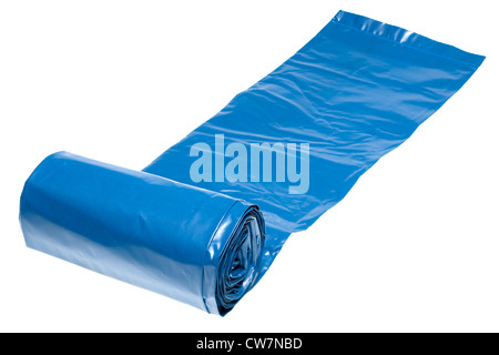 Roll of blue heavy duty rubble polythene sacks - Stock Photo