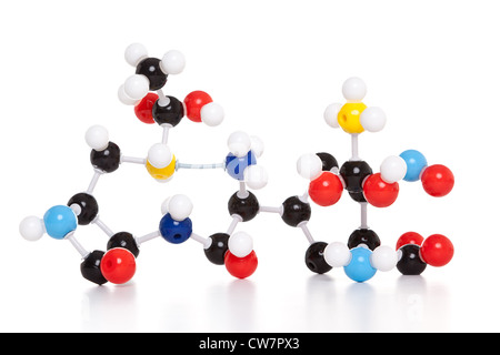 Photo of a molecular atom model isolated on a white background. - Stock Photo