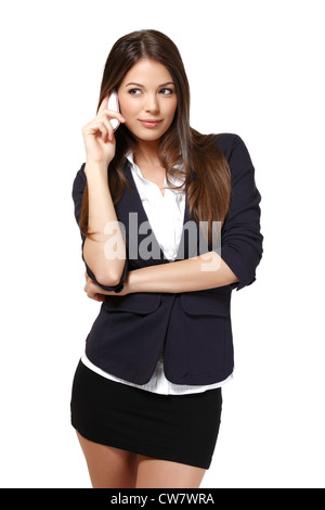 nice woman with cellphone isolated on white - Stock Photo