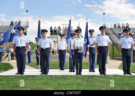 Superintendent Lt. Gen Mike Gould and senior staff prepare for a pass-in-review by the U.S. Air Force Academy cadet - Stock Photo