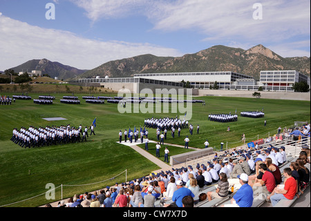 Superintendent Lt. Gen Mike Gould and senior staff conduct a pass-in-review by the U.S. Air Force Academy cadet - Stock Photo