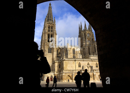 The Cathedral of Santa Maria in Burgos, Spain, taken from under the arch of Santa Maria. - Stock Photo