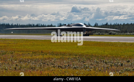 """A B-2 Stealth Bomber, """"Spirit of Florida"""" prepares to launch for an afternoon training mission during RED FLAG-Alaska - Stock Photo"""