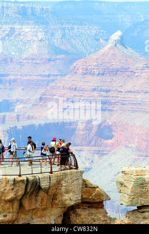 An overlook at the popular South Rim of the Grand Canyon - Stock Photo