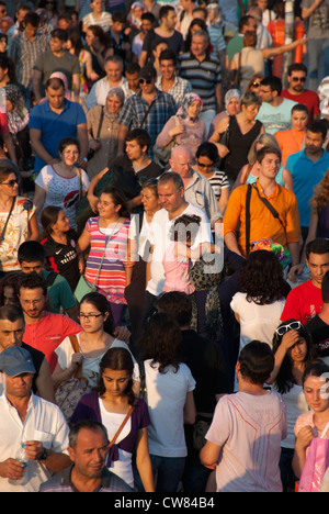 ISTANBUL, TURKEY. A crowded and colourful scene at Eminonu ferry terminal. 2012. - Stock Photo