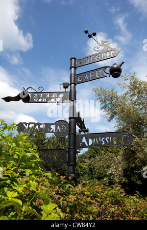 Street sign with different destinations. Forbidden Corner, Travel Direction Sign, Middleham, North Yorkshire Dales, - Stock Photo