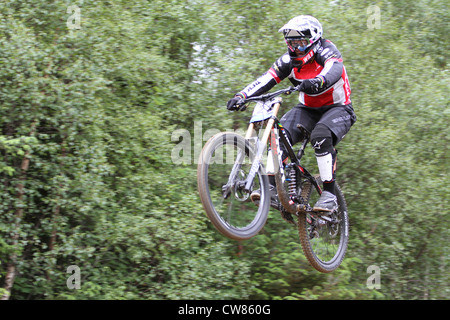 Tracy Moseley during practice for 2012 downhill world cup at Fort William - Stock Photo