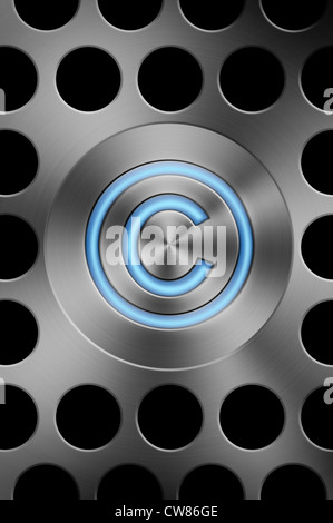 Copyright Symbol Button On A Silver Mac Style Background Stock Photo