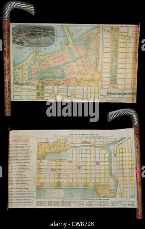1893 Novelty Cane Map of the Chicago World's Fair or Columbian Exposition - Stock Photo