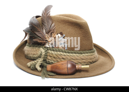 Vintage Hunting Hat And Wooden Game Call For Foxes Hazel Grouse