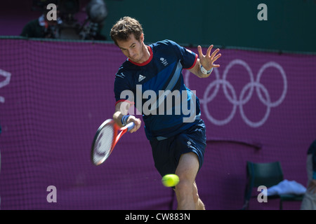 Andy Murray (GBR) wins the gold medal in the Men's Tennis Final at the Olympic Summer Games, London 2012 - Stock Photo