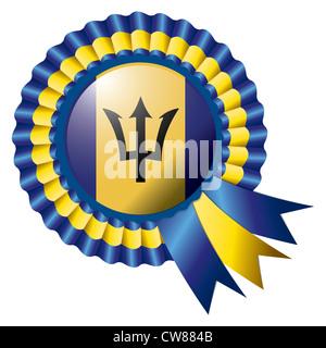 Barbados detailed silk rosette flag, illustration - Stock Photo