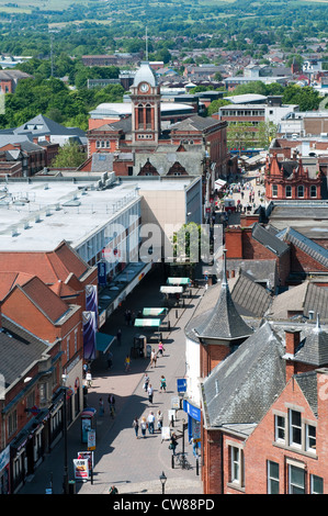 An aerial view of Chesterfield town centre, Derbyshire England UK - Stock Photo