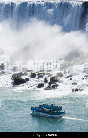 Maid of the Mist tour boat in front of the American Falls viewed from the Canadian side, Niagara Falls , Ontario, - Stock Photo
