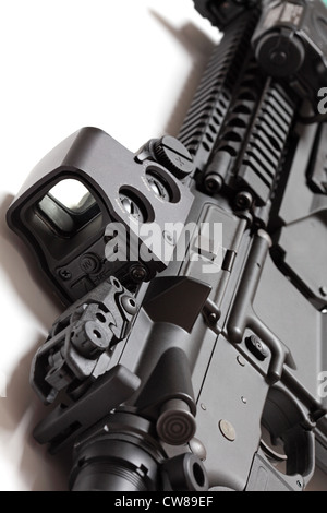 Modern tactical laser sight on an assault carbine close-up. Modern weapon series. - Stock Photo
