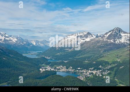 Muottas Muragl, Switzerland. Views of St. Moritz from atop Muottas Muragl. - Stock Photo