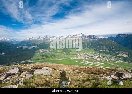 Muottas Muragl, Switzerland. Views of Celerina and St. Moritz from atop Muottas Muragl. - Stock Photo
