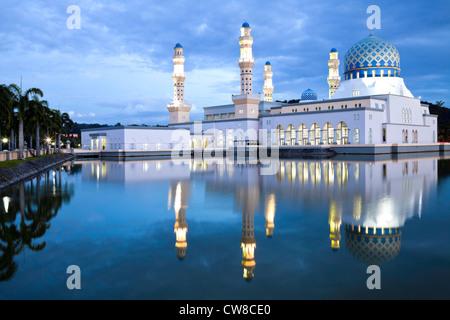 Kota Kinabalu City Mosque at dusk. - Stock Photo