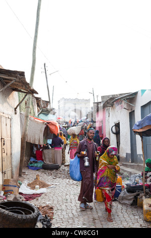 Alleyway with  Shoa Gate in the background Harar Ethiopia. - Stock Photo