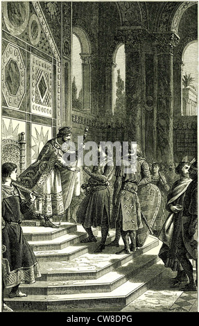 Godfrey of Bouillon and his barons received by Emperor Alexis. - Stock Photo