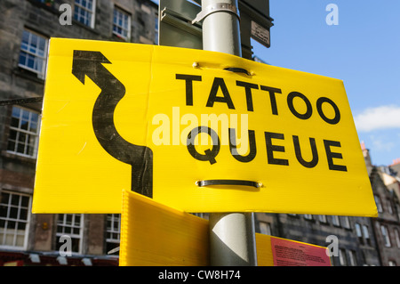 Sign for the Edinburgh Military Tattoo queue - Stock Photo