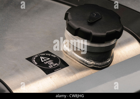 Filling cap of a diesel tank on a lorry/truck - Stock Photo
