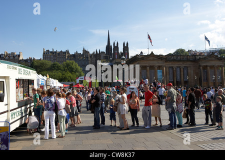 people queuing for ice cream from an icecream van on a sunny day in summer edinburgh scotland uk united kingdom - Stock Photo