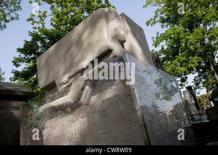 Celebrated grave for the Dublin-born playright and known homosexual, Oscar Wilde in the Pere Lachaise cemetery, - Stock Photo