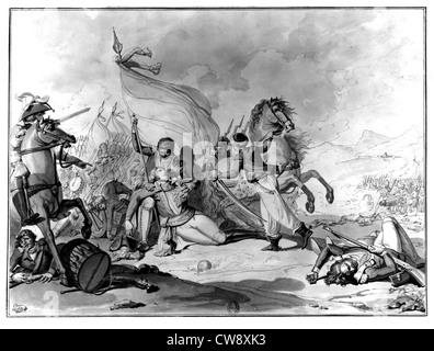 Wash drawing Lafitte Death General Desaix at Marengo - Stock Photo