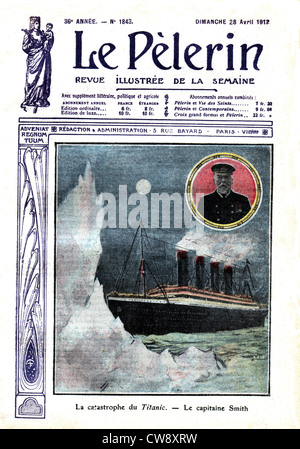 The catastrophe 'Titanic' Capitain Smith in 'Le Pèlerin' - Stock Photo