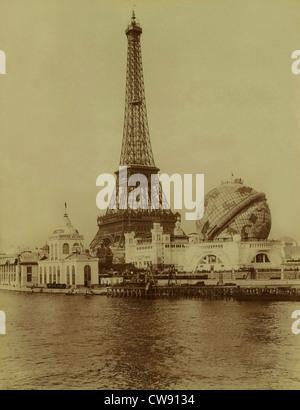 Paris. 1900 World Exhibition. Eiffel Tower Grand Globe Céleste. - Stock Photo