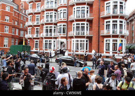 General view of the Ecuador Embassy in London where Julian Assange (not pictured) has sought diplomatic asylum - Stock Photo